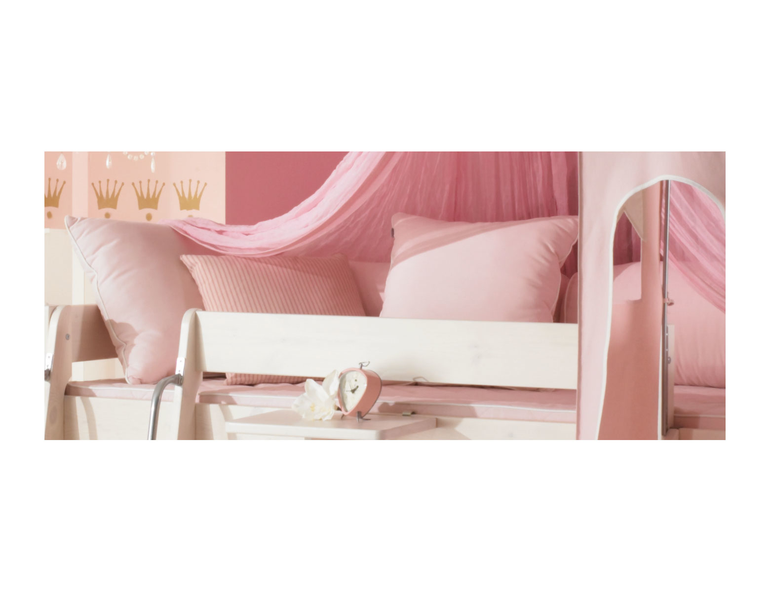 Dolphin Moby halbhohes Prinzessinnenbett mit Himmel, weiß-rosa, Bild 4