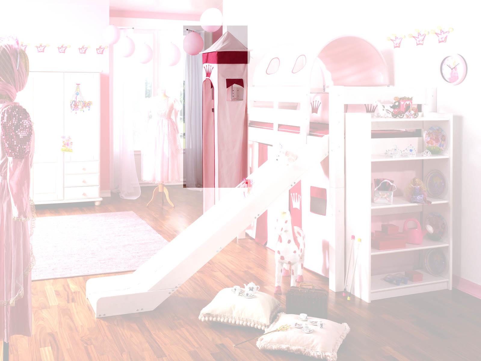 Prinzessinnenbett Hochbett mit Turm, weiß-rosa, Massivholz, Bild 4