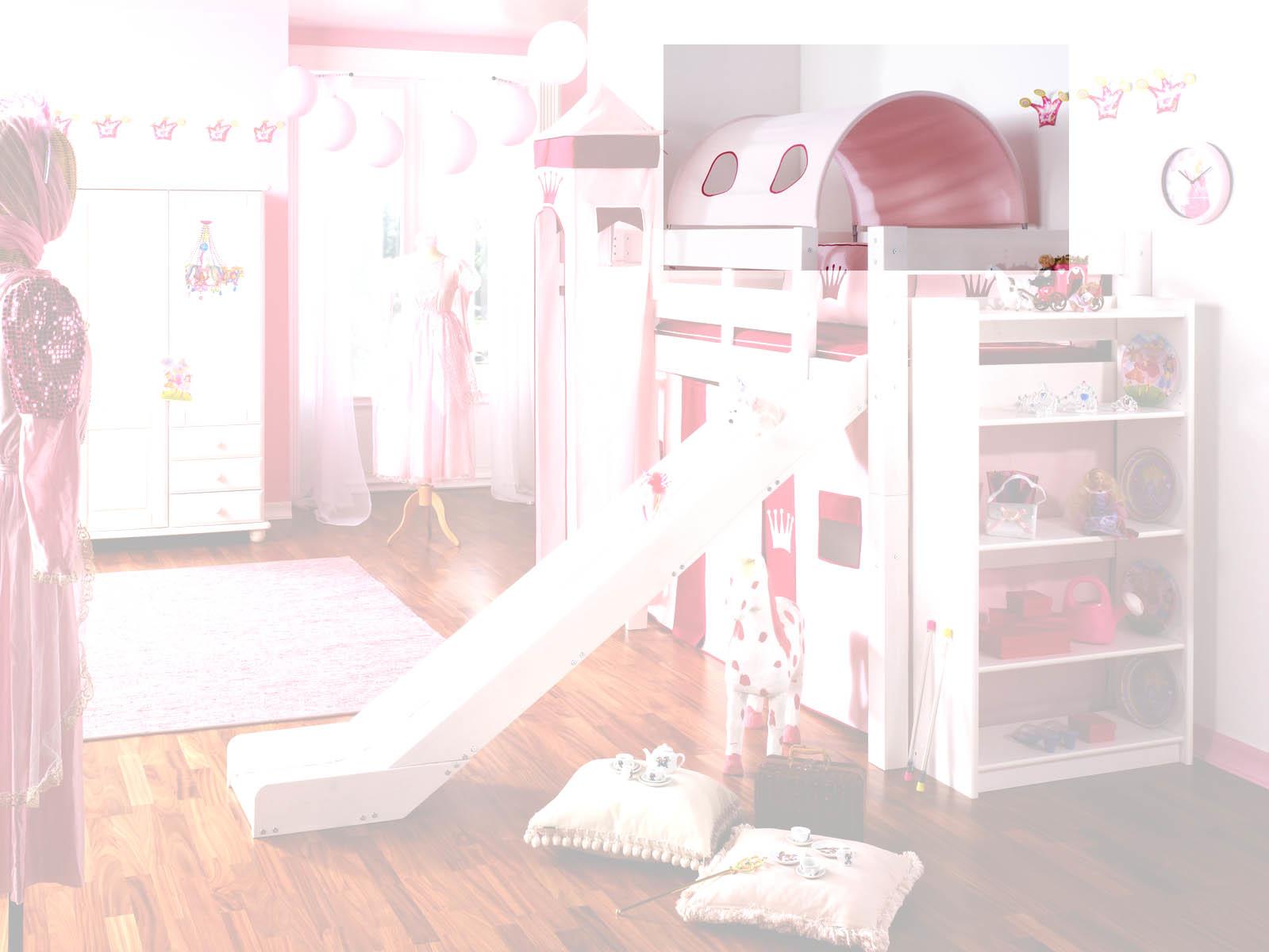 Prinzessinnenbett Hochbett mit Turm, weiß-rosa, Massivholz, Bild 3