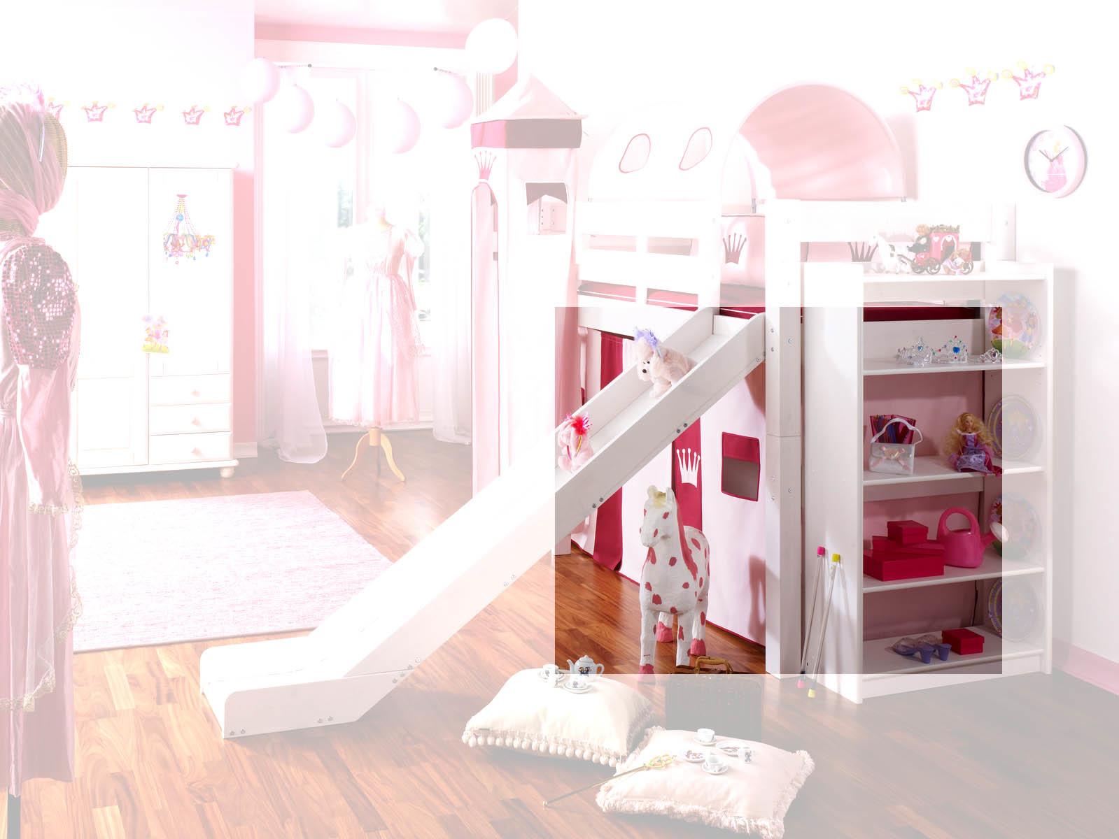 Prinzessinnenbett Hochbett mit Turm, weiß-rosa, Massivholz, Bild 5