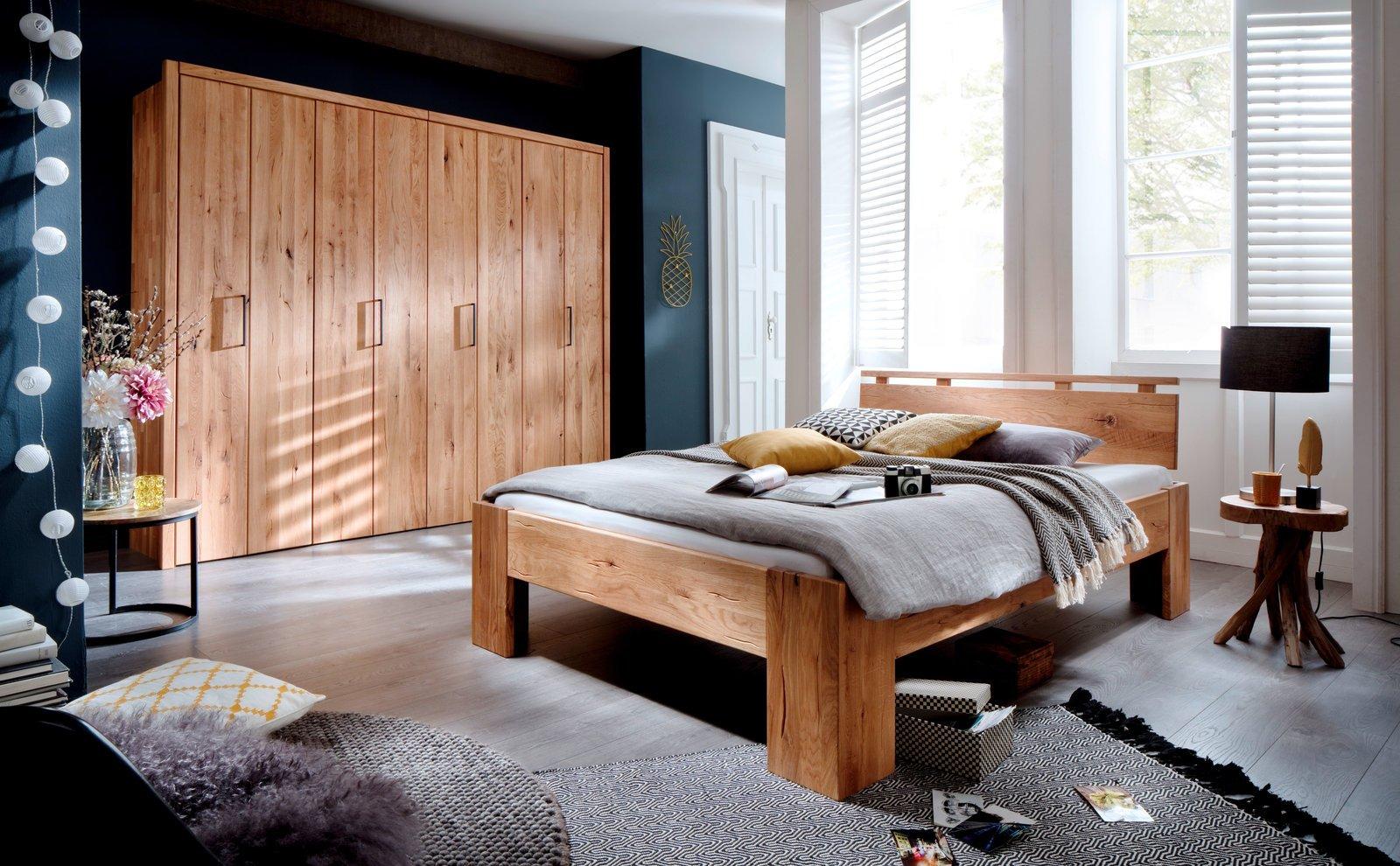 Schlafzimmer Doppelbett Wildeiche Massivholz Rödemis II, Bild 2