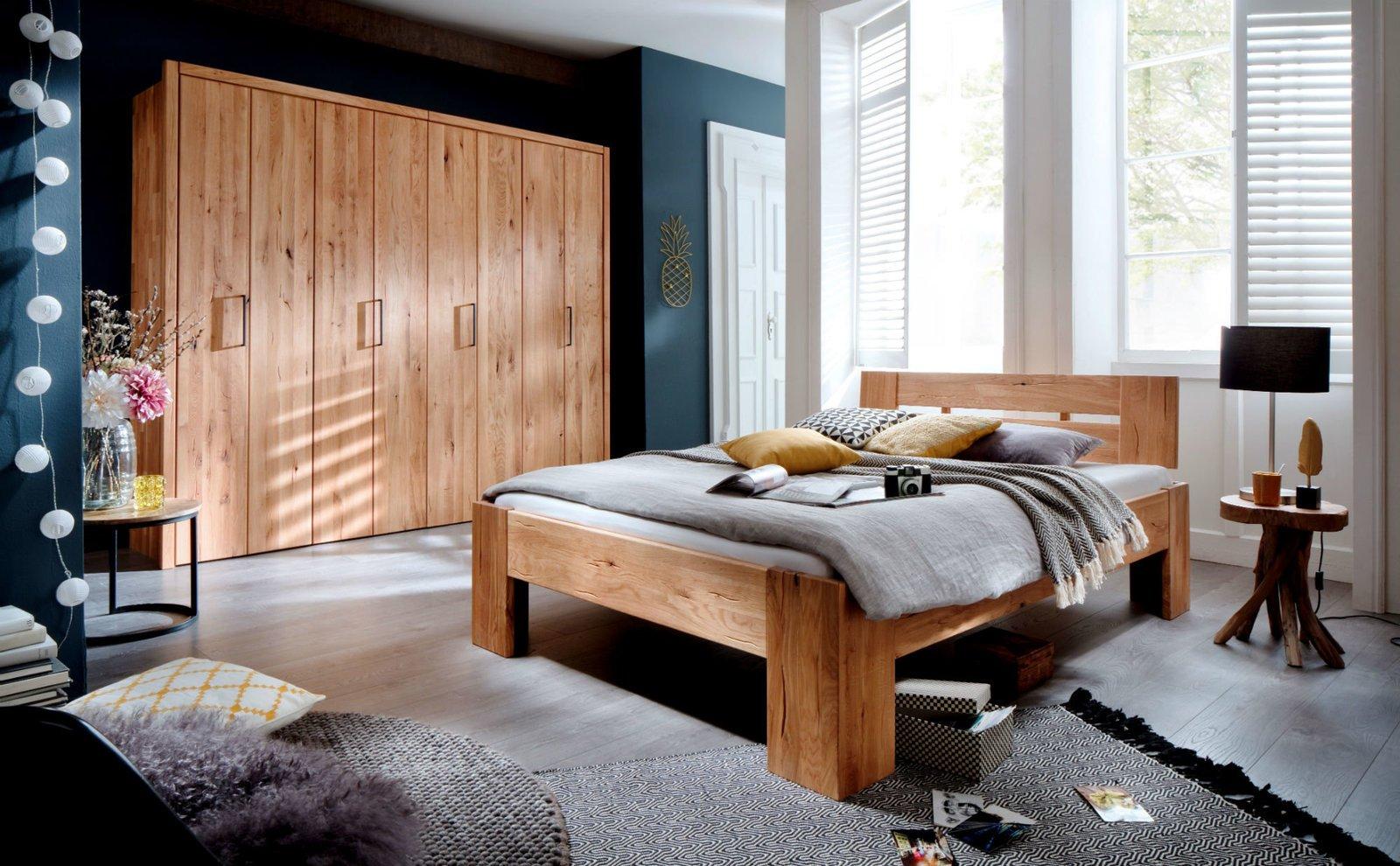 Schlafzimmer Doppelbett Wildeiche Massivholz Rödemis III, Bild 3