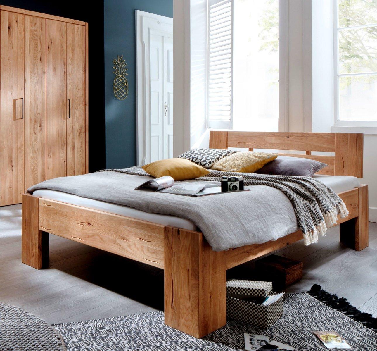 Schlafzimmer Doppelbett Wildeiche Massivholz Rödemis III