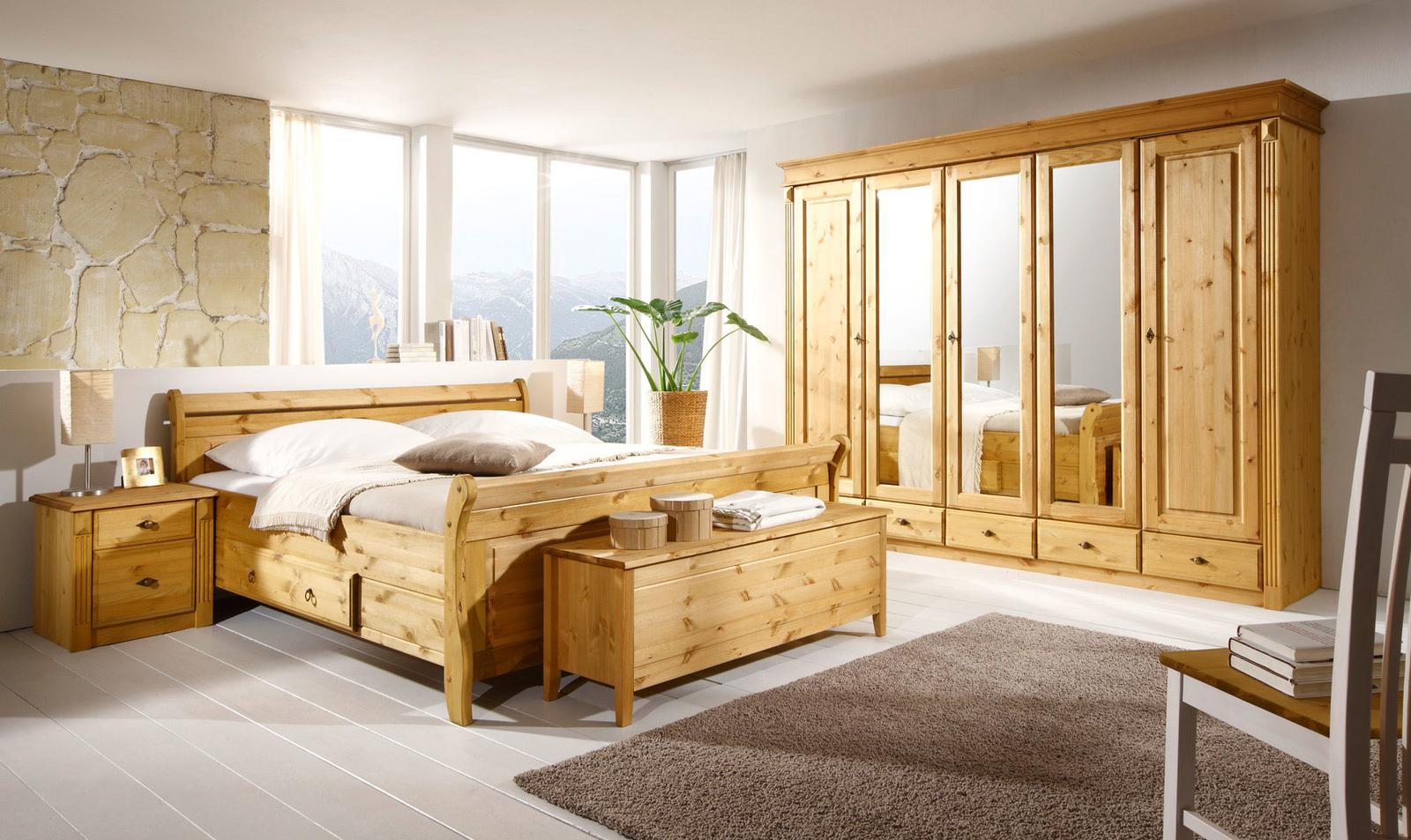 Schlafzimmer Dora Kiefer massiv gelaugt geölt von Jumek günstig ...