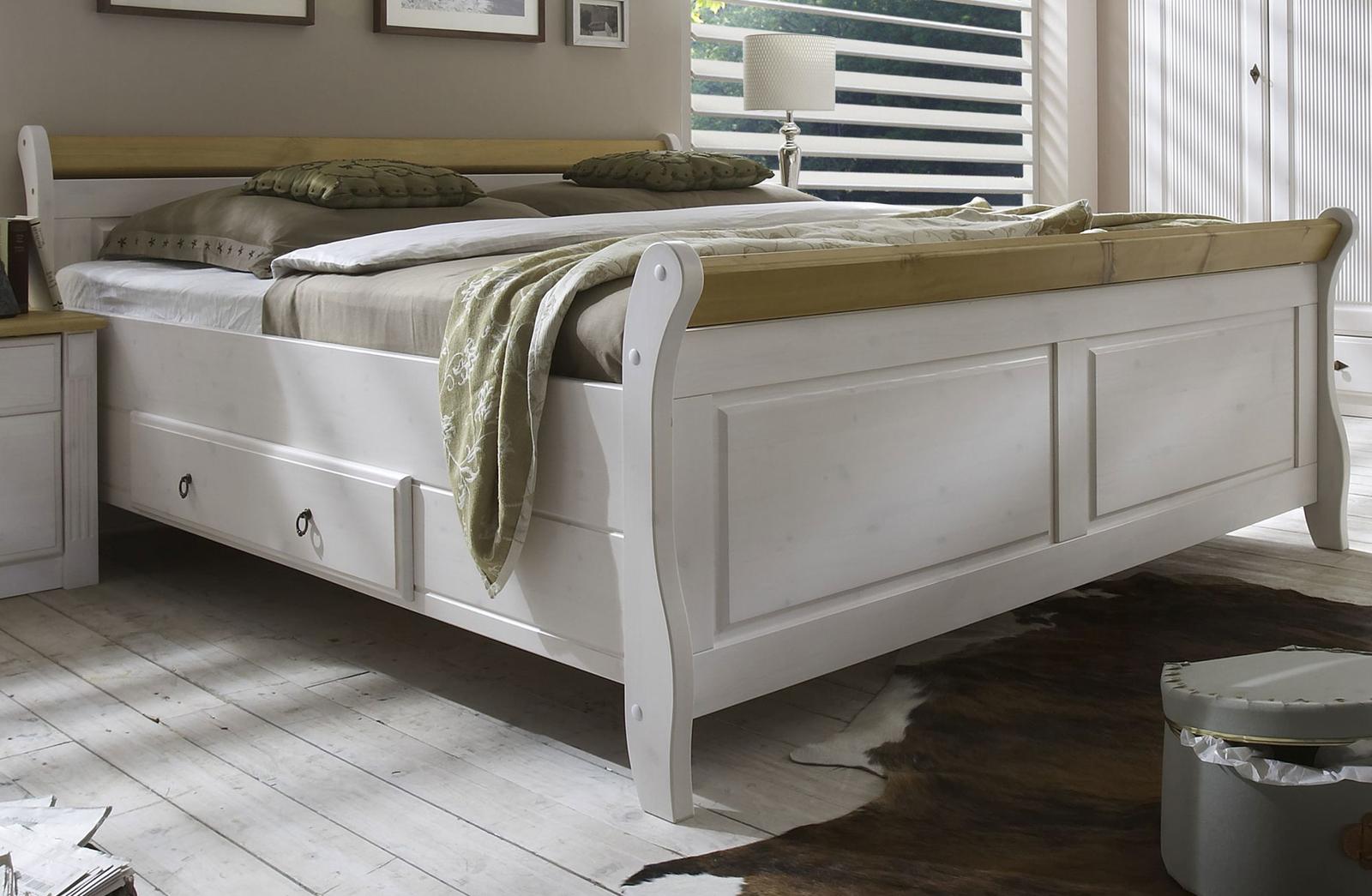 Doppelbett 200x200 Cm, Weiß Gelaugt Geölt