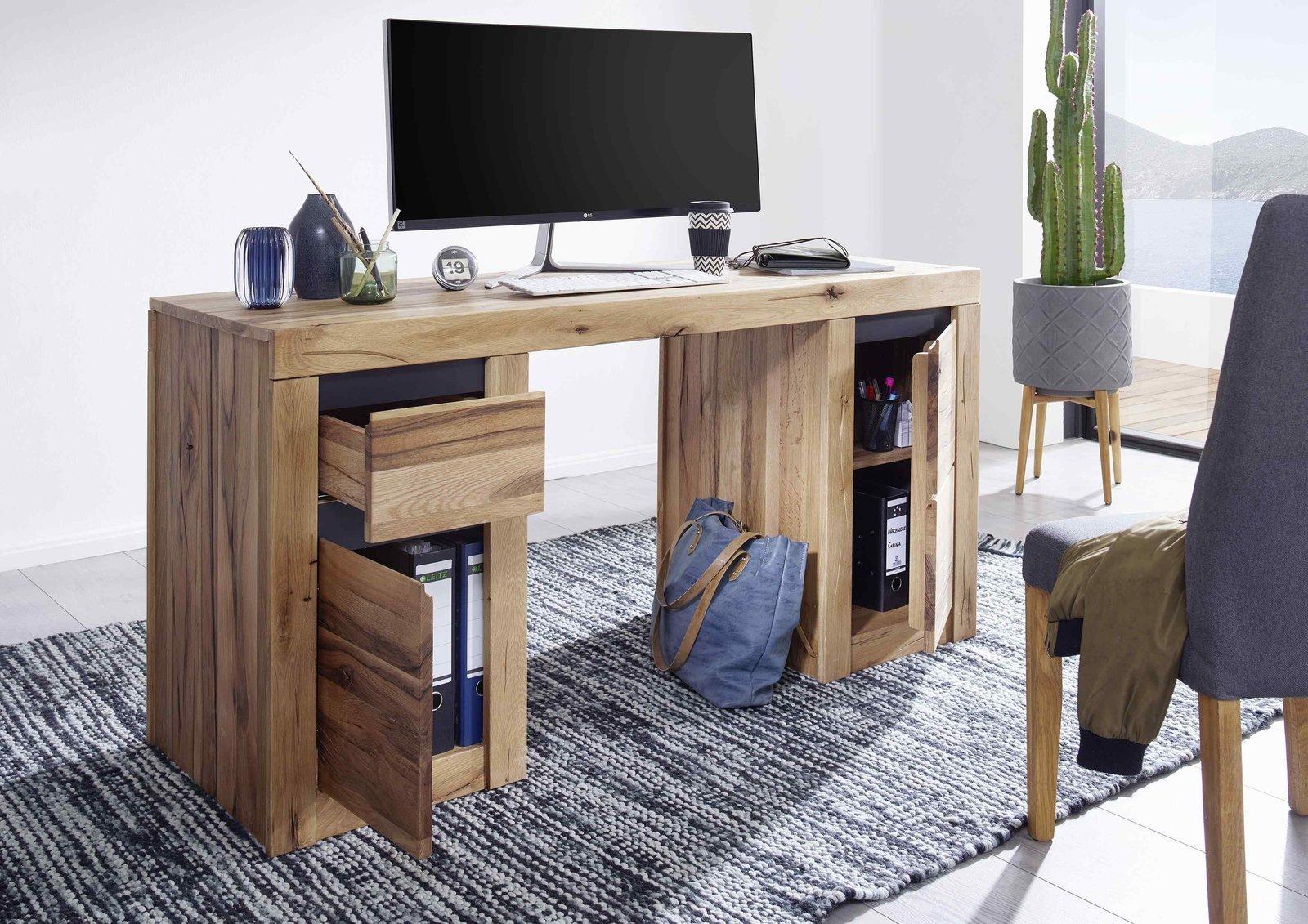 Schreibtisch Kristiansand aus massiver Wildeiche, Bild 2
