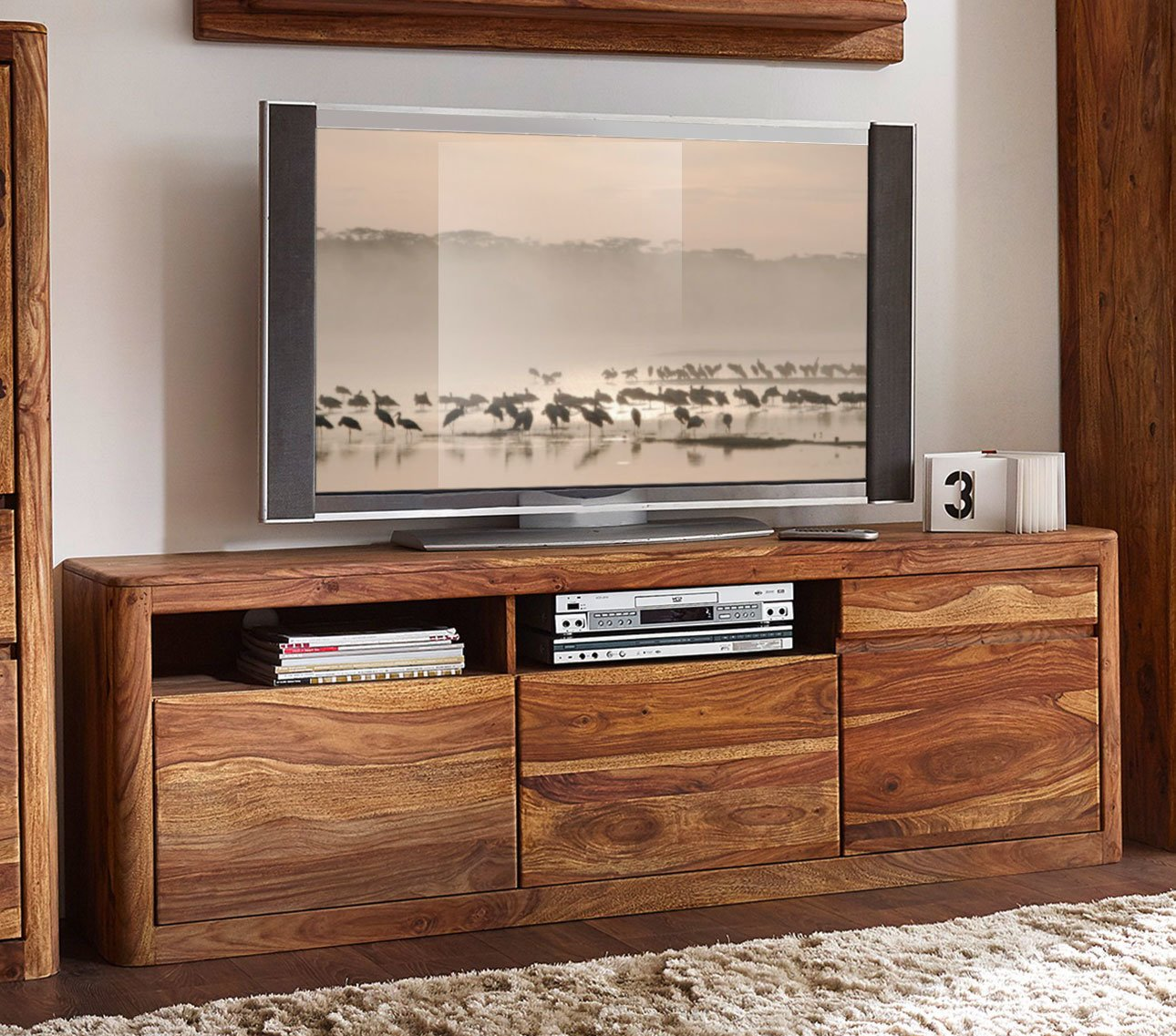 TV-Board New York Sheesham Massivholz