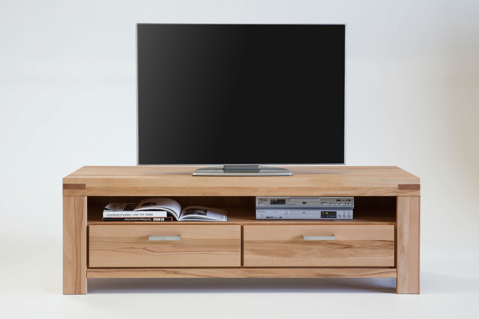 tv schrank massivholz kira 155cm mit schubladen von elfo. Black Bedroom Furniture Sets. Home Design Ideas