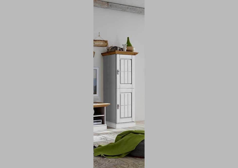 Wohnzimmer Landhaus TV Kombination Fjord weiß gelaugt geölt, Bild 2