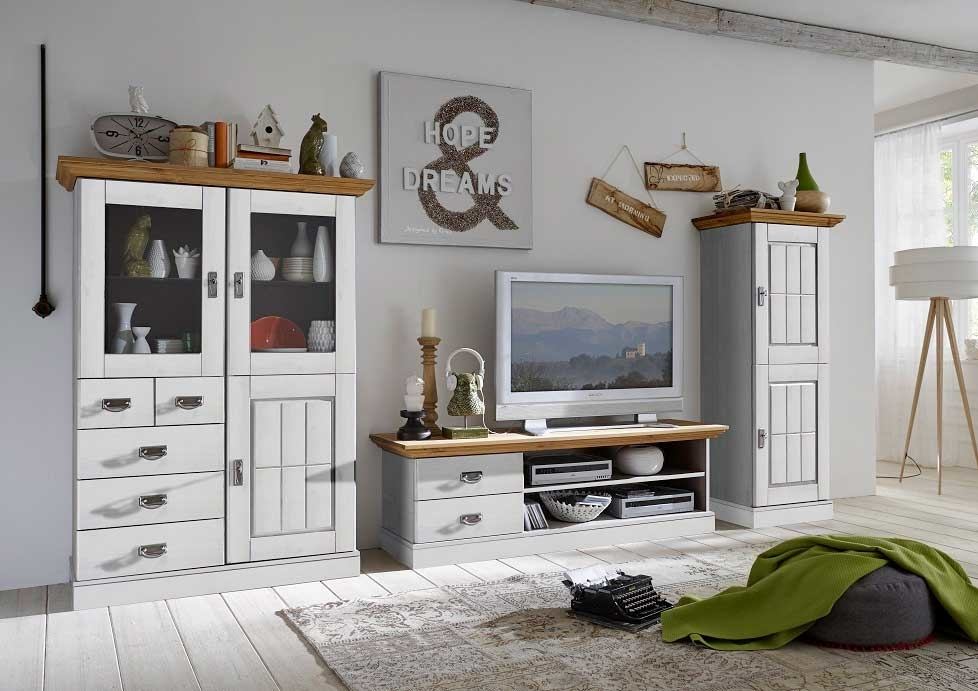 wohnzimmer landhaus tv kombination fjord wei gelaugt. Black Bedroom Furniture Sets. Home Design Ideas