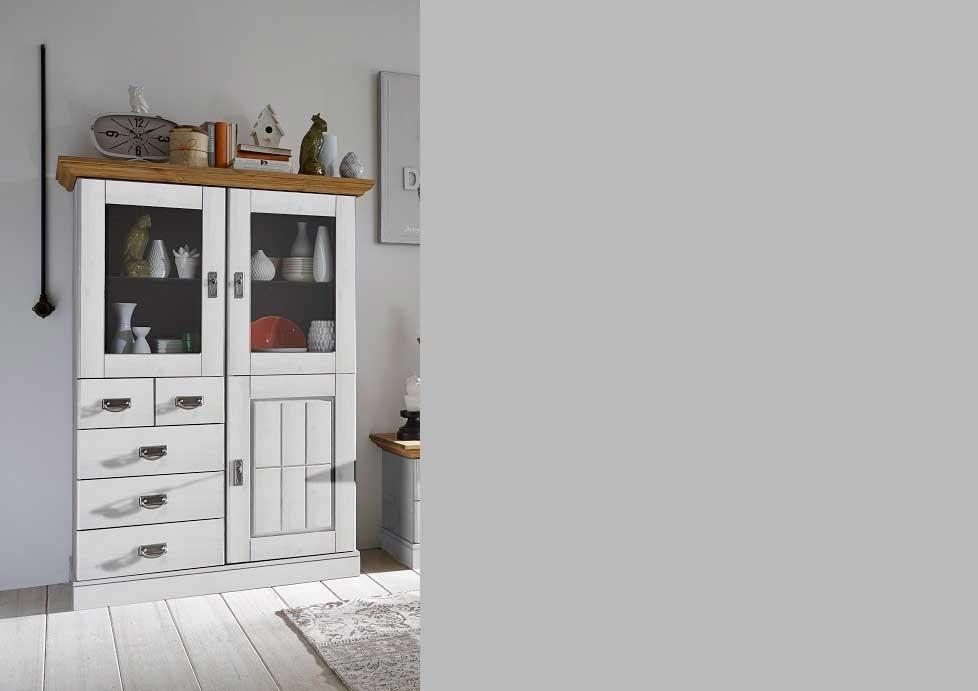 Wohnzimmer Landhaus TV Kombination Fjord weiß gelaugt geölt, Bild 4