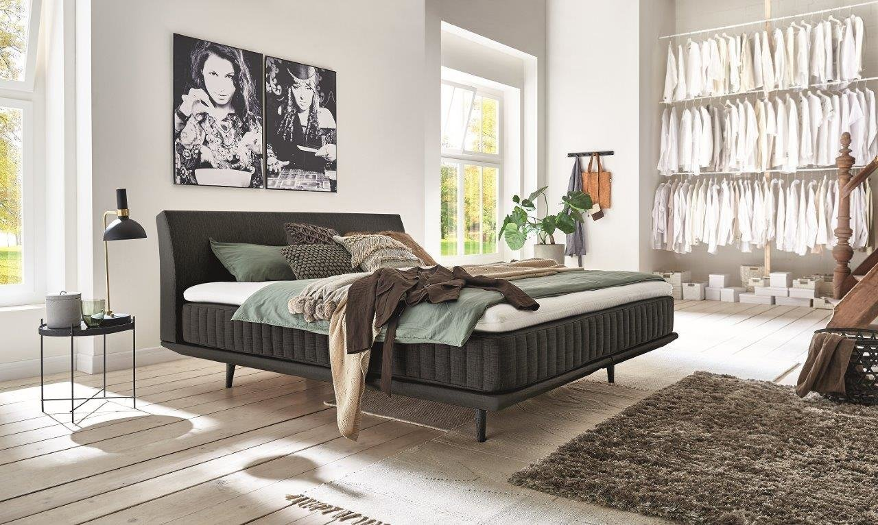 Minimum Alvaro Coal Boxspringbett mit Topper