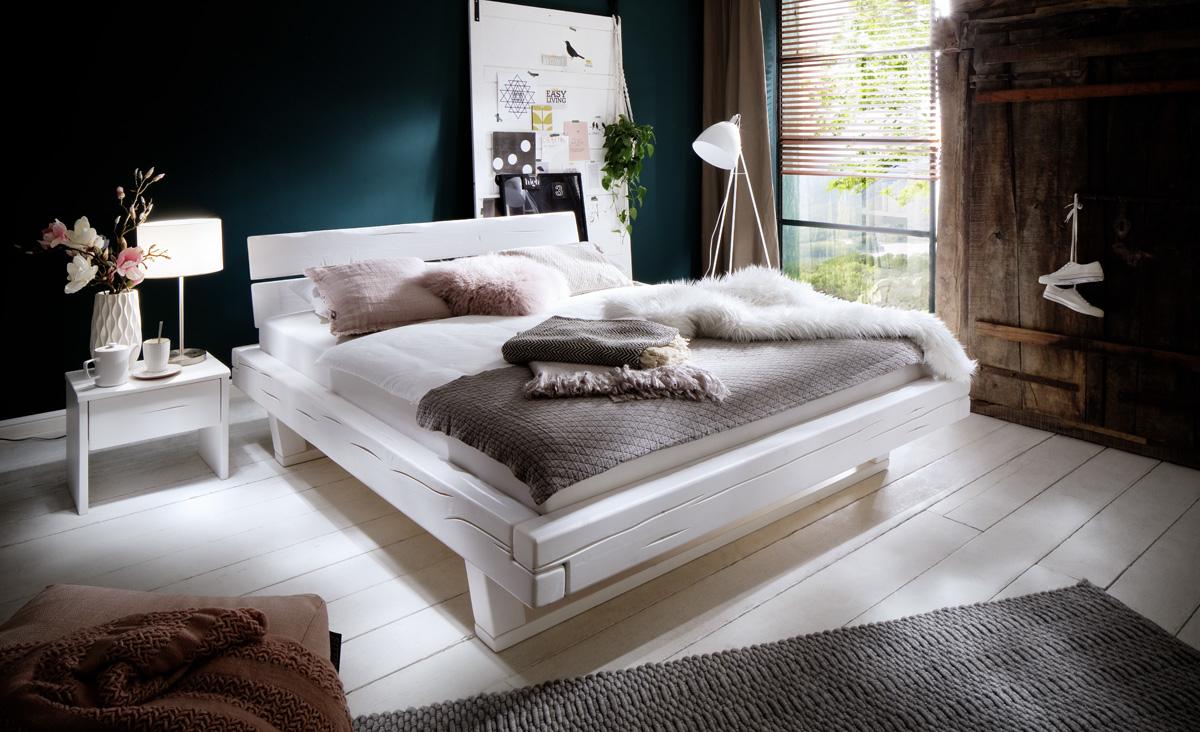 Balkenbett Doppelbett Massivholz Bold weiß lackiert