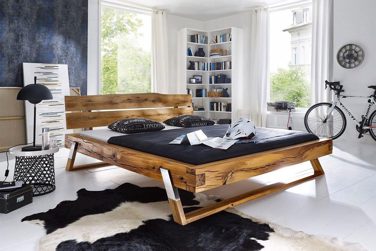Balkenbett Wildeiche Massivholz Aarhus