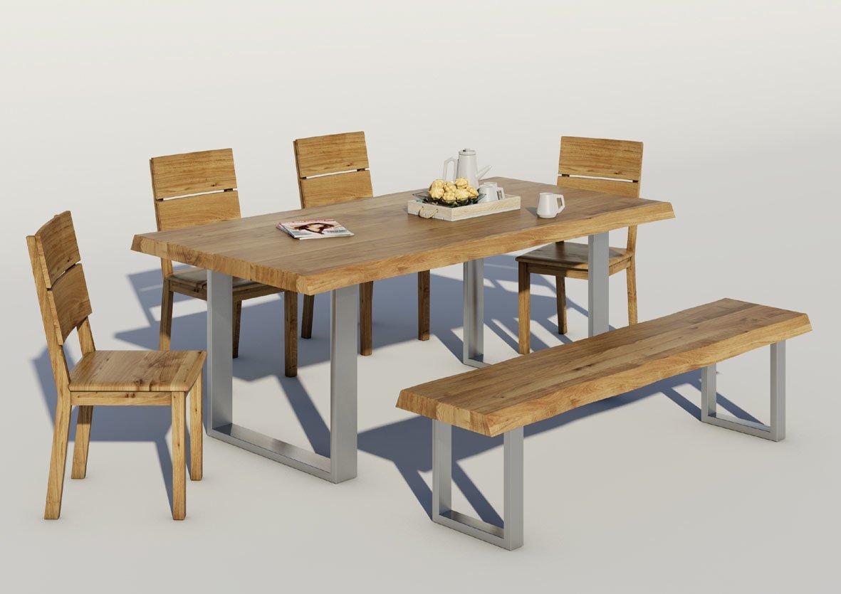 Baumkanten Esstisch mit Edelstahl Gestell Wildeiche Massivholz
