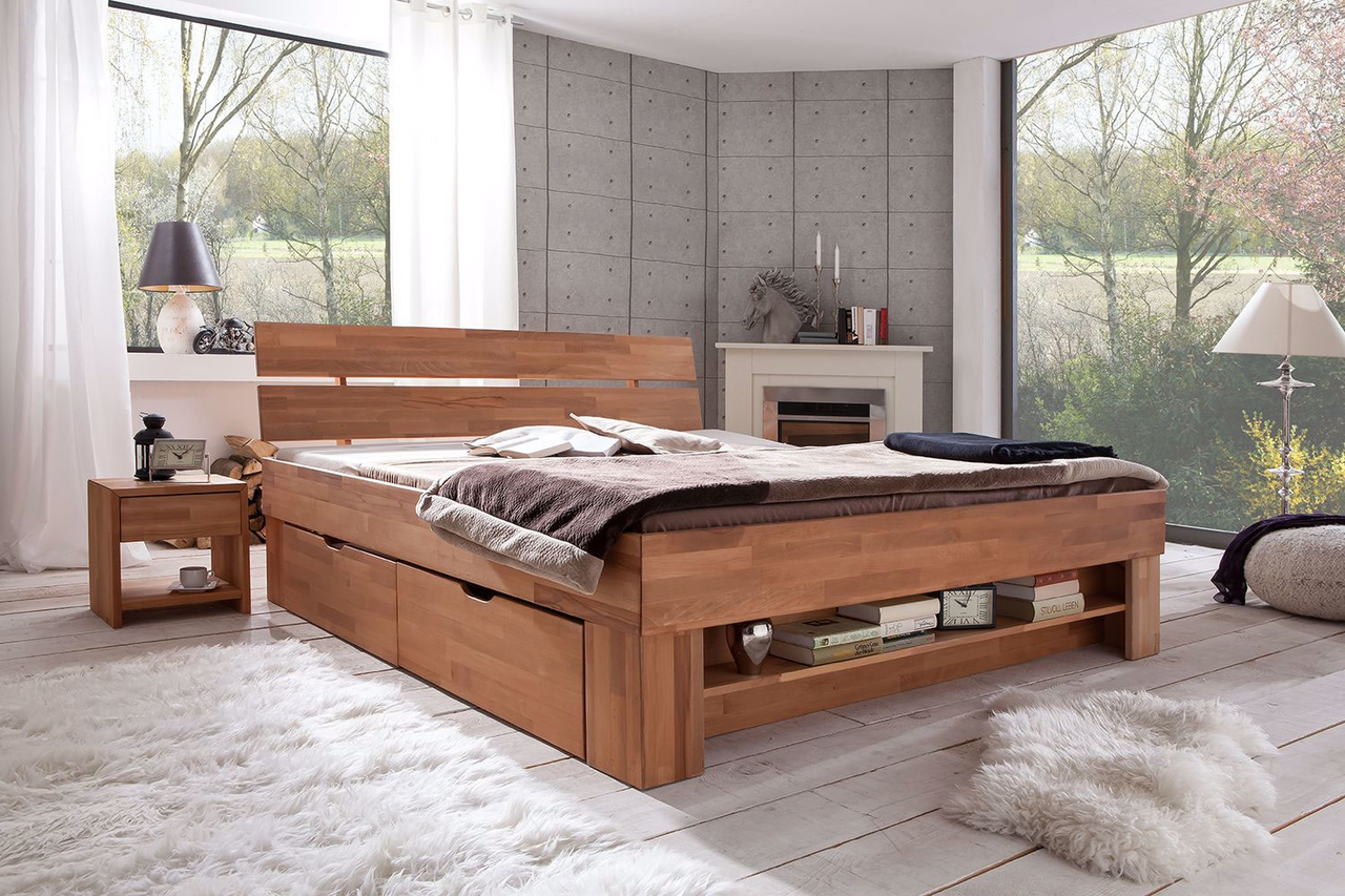 Elfo Futonbett Sofie mit Bettkästen und Fußteilregal