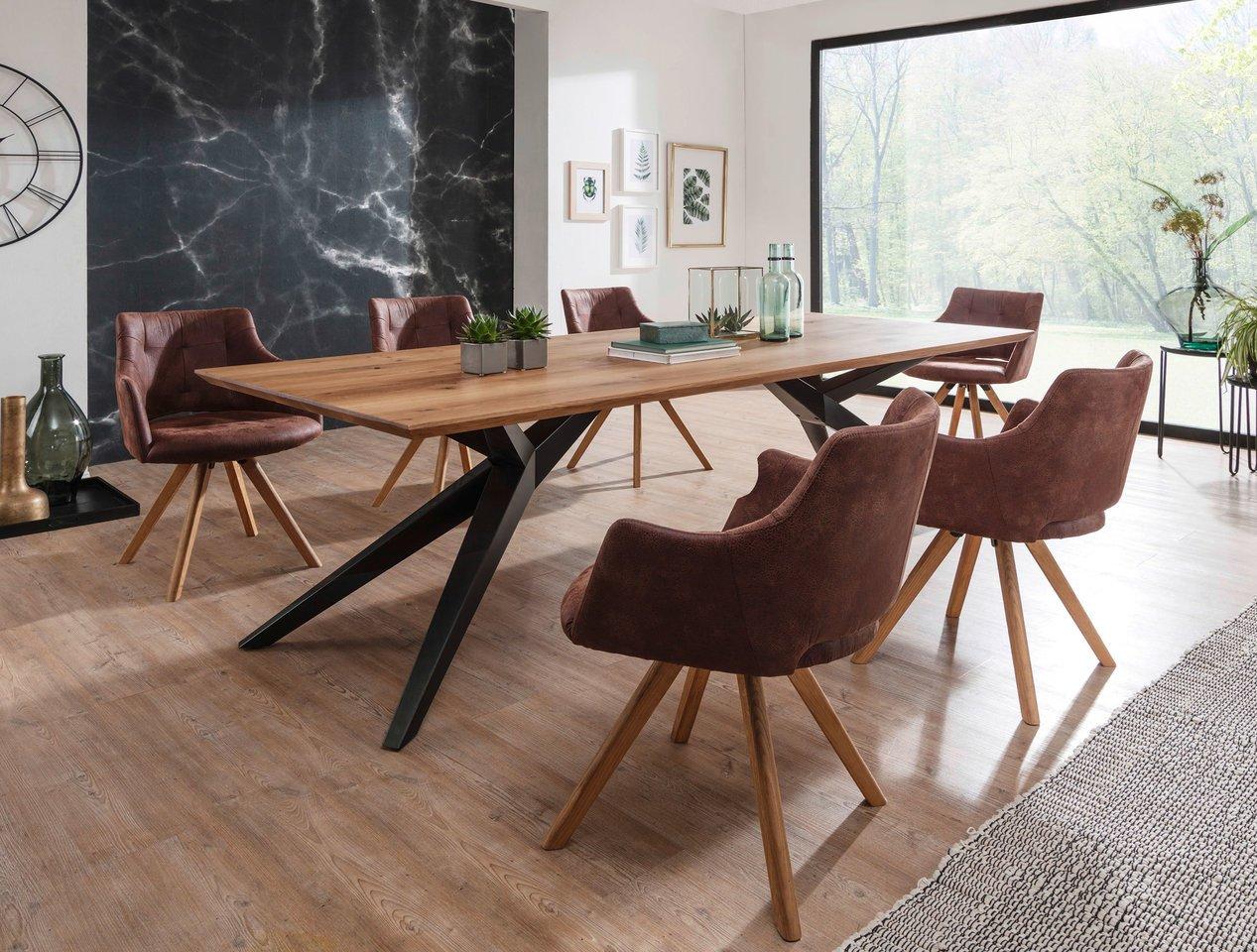 Elfo Massivholz Esstisch auf Metallgestell, 160 x 100 cm, Wildeiche