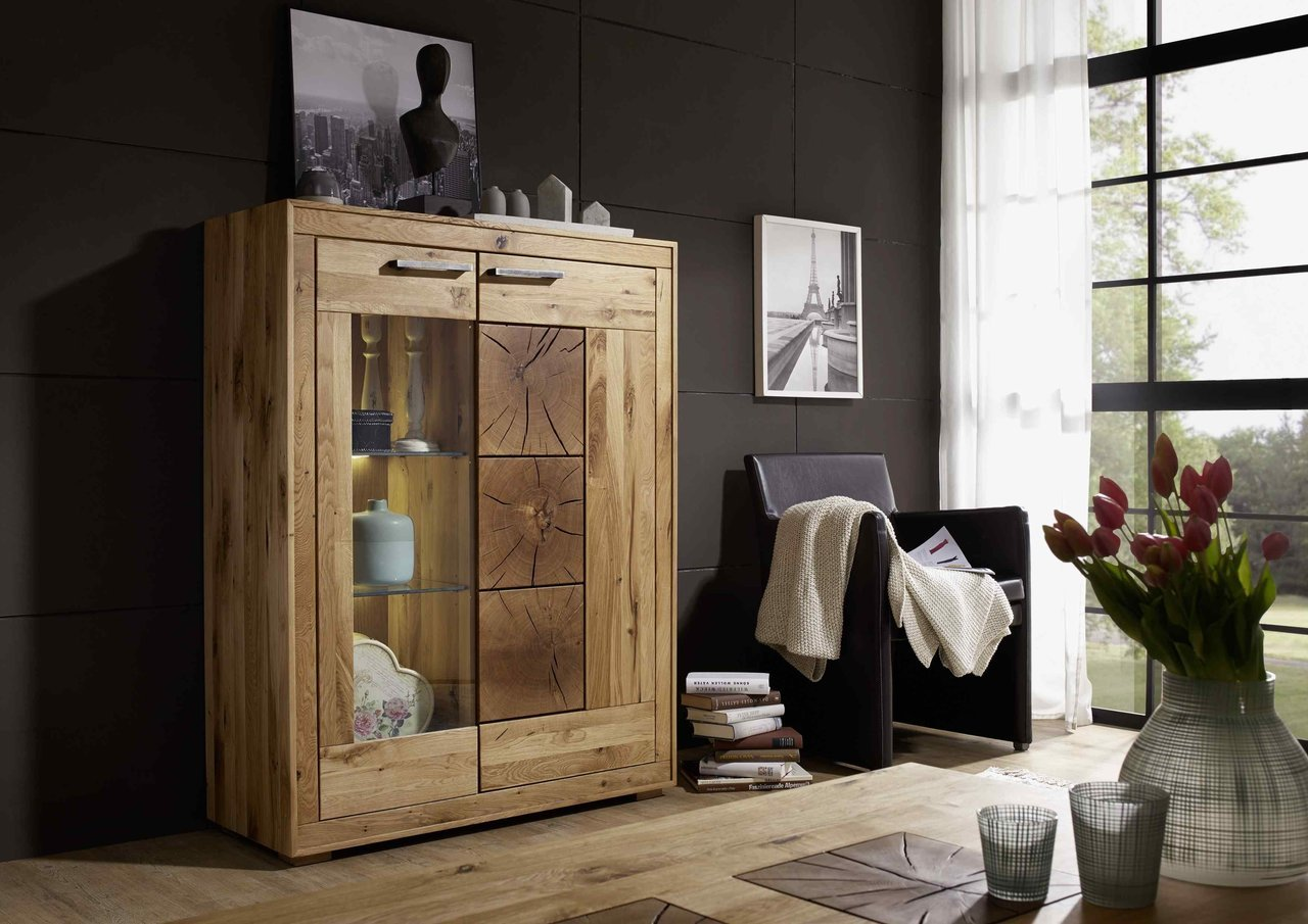Highboard I Arvika aus massiver Wildeiche