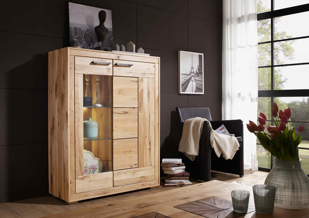 Highboard I Lund aus massiver Wildeiche