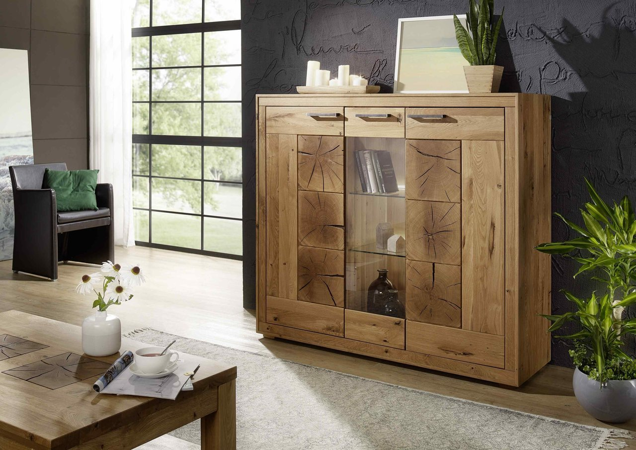 Highboard II Arvika aus massiver Wildeiche