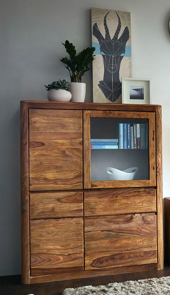 Highboard III New York Sheesham Massivholz