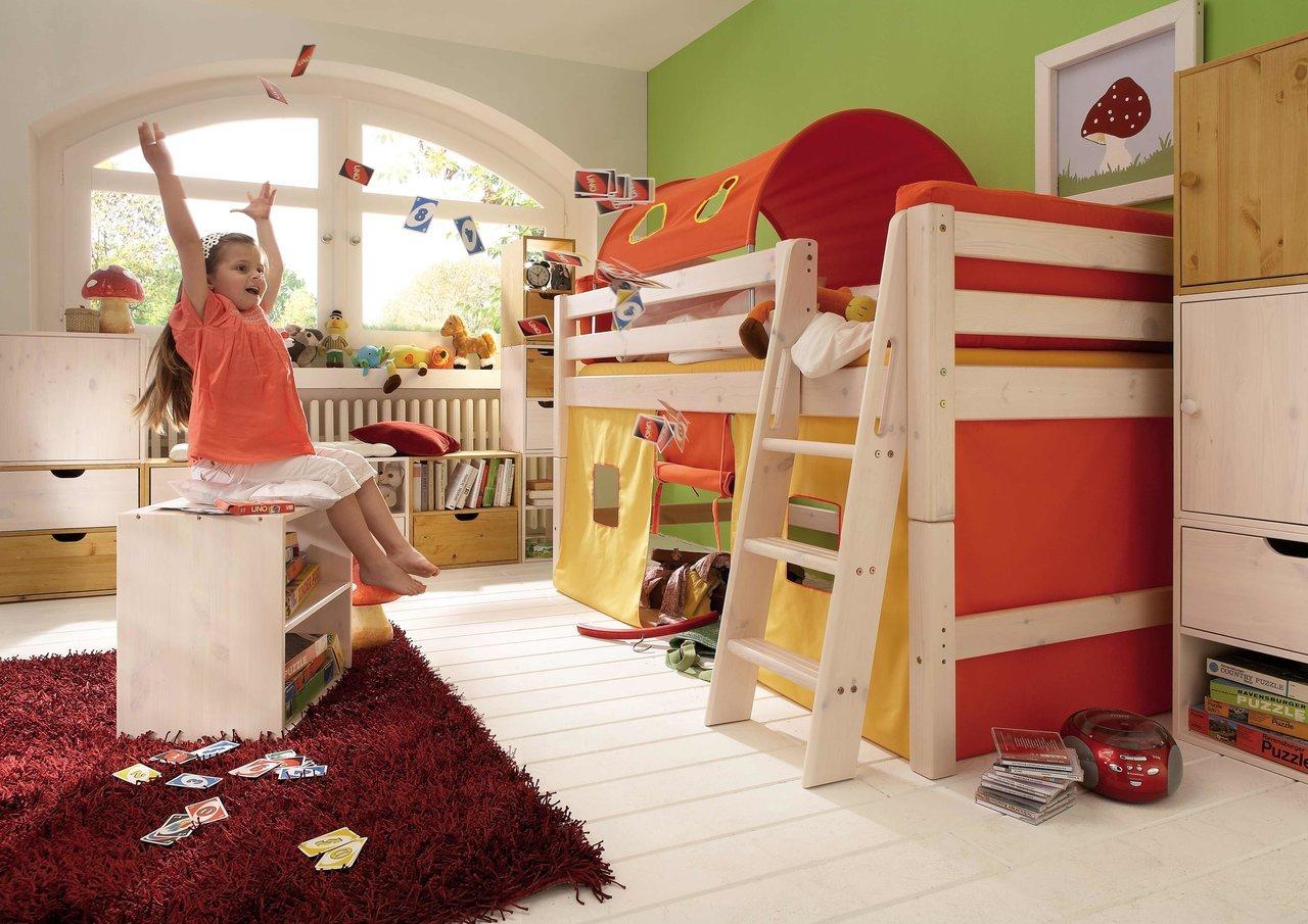 InfansKids Halbhohes Abenteuerbett mit Stoffset Orange
