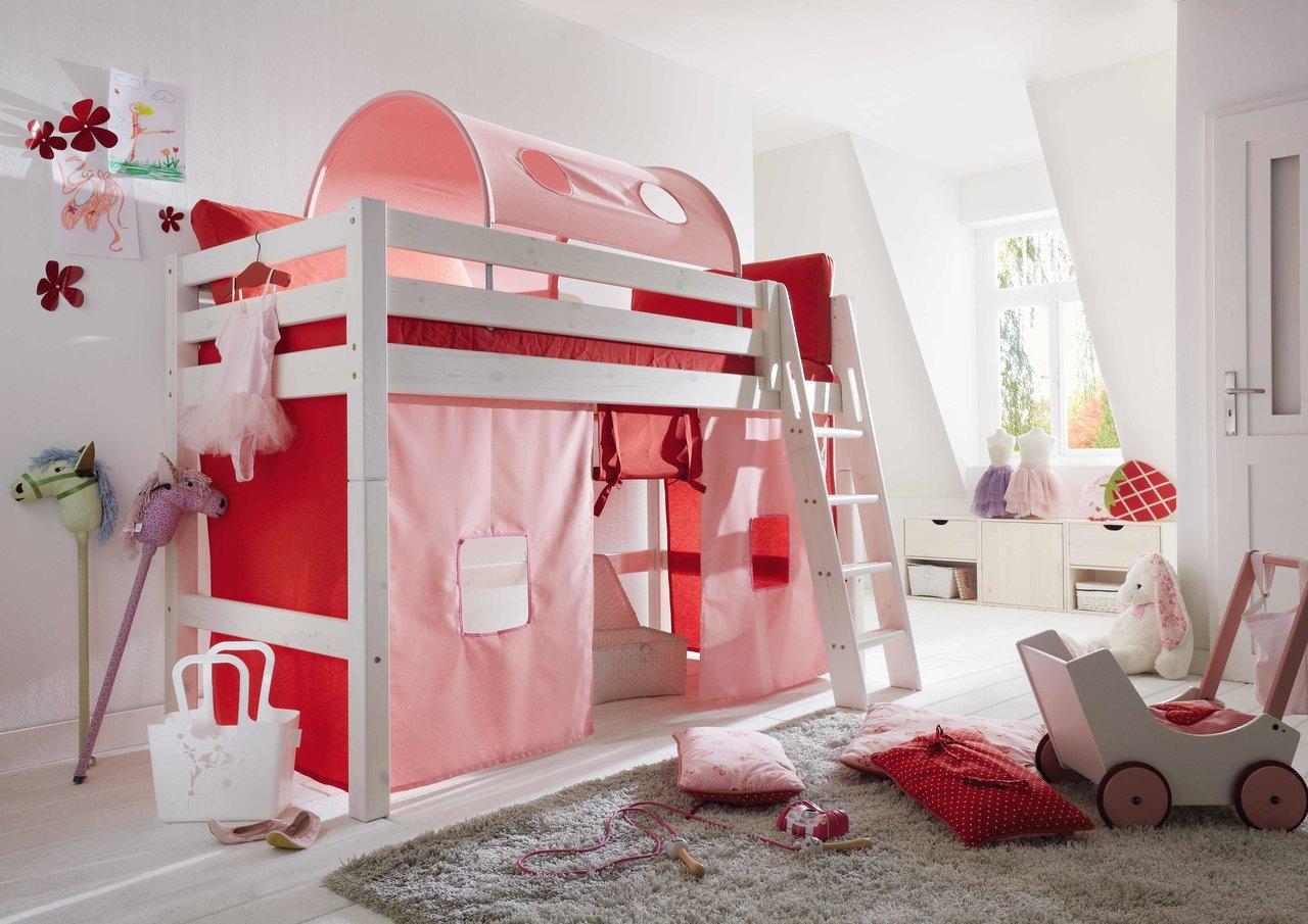 InfansKids Mittelhohes Abenteuerbett mit Stoffset Rosa