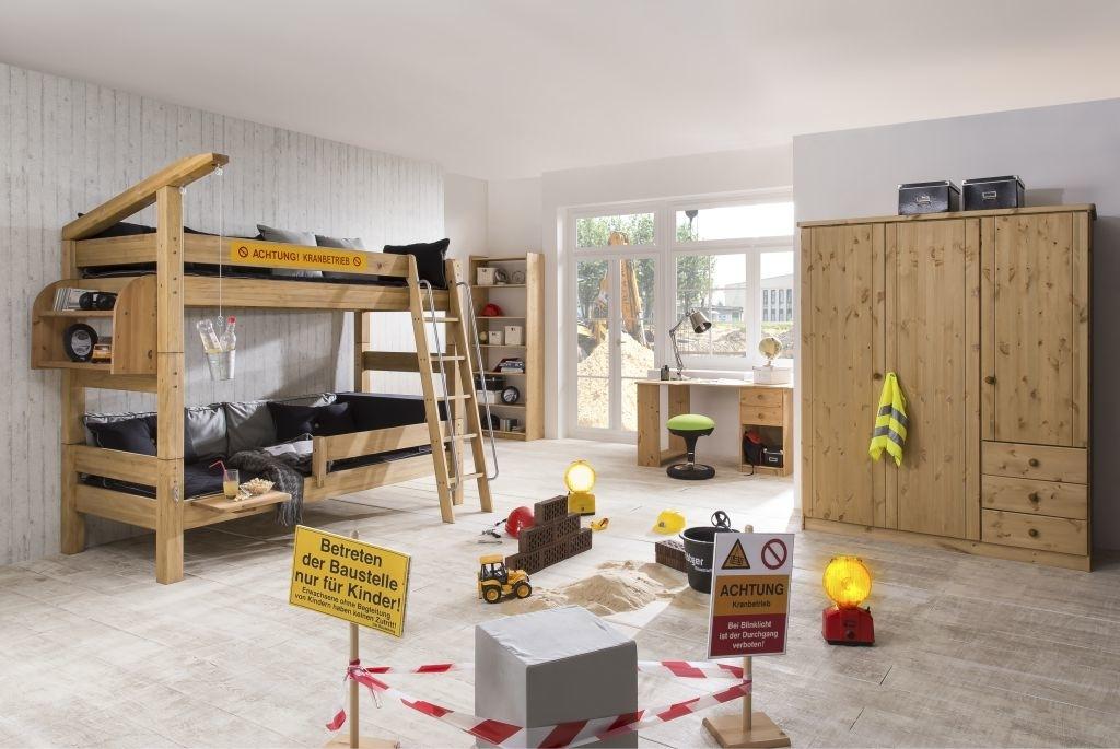 Kinderzimmer Baustelle - Etagenbett mit Kran und Leiter von Dolphin Moby