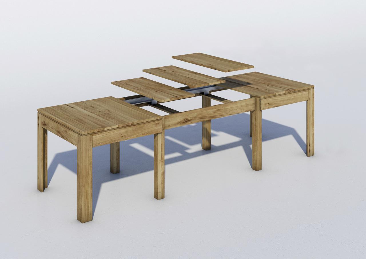 Massivholz Esstisch Wildeiche mit 3 Einlegeplatten