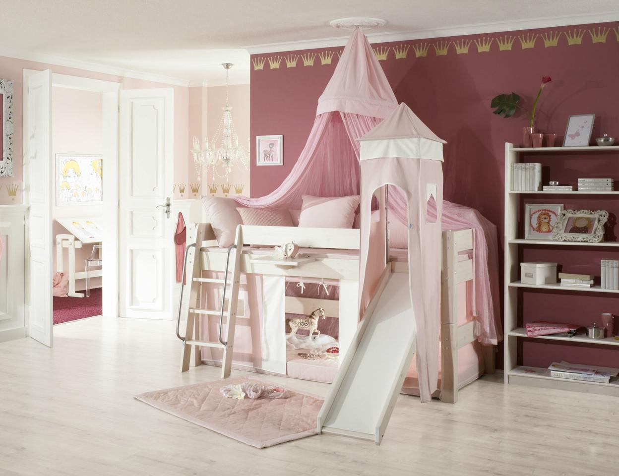 Dolphin Moby halbhohes Prinzessinnenbett mit Himmel, weiß-rosa