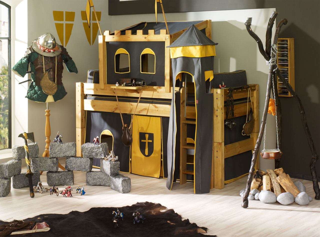 Kinderzimmer Kleine Ritterburg - Einzelbett mit RitterTurm und ...