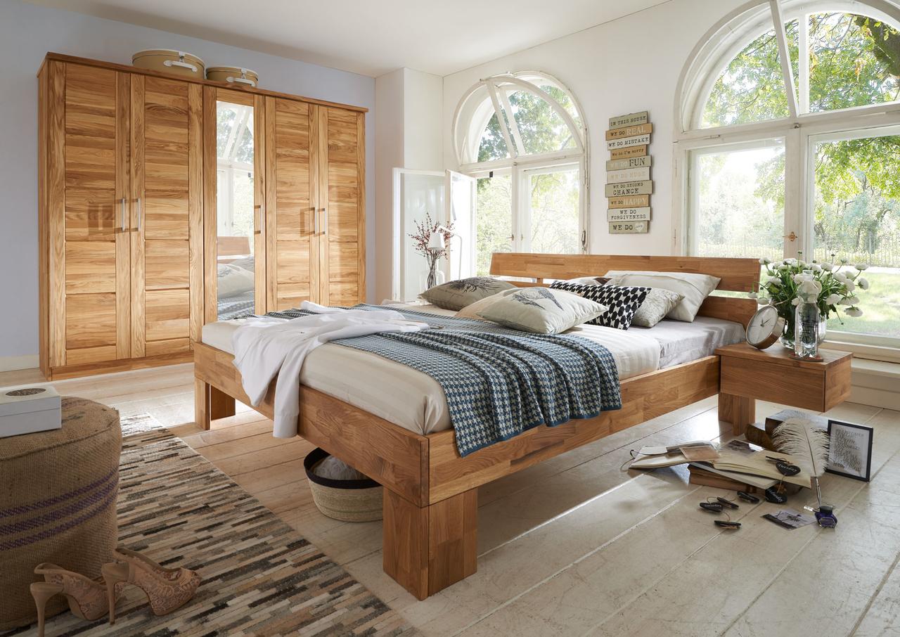 Schlafzimmer Bett aus Massivholz Modern Zen