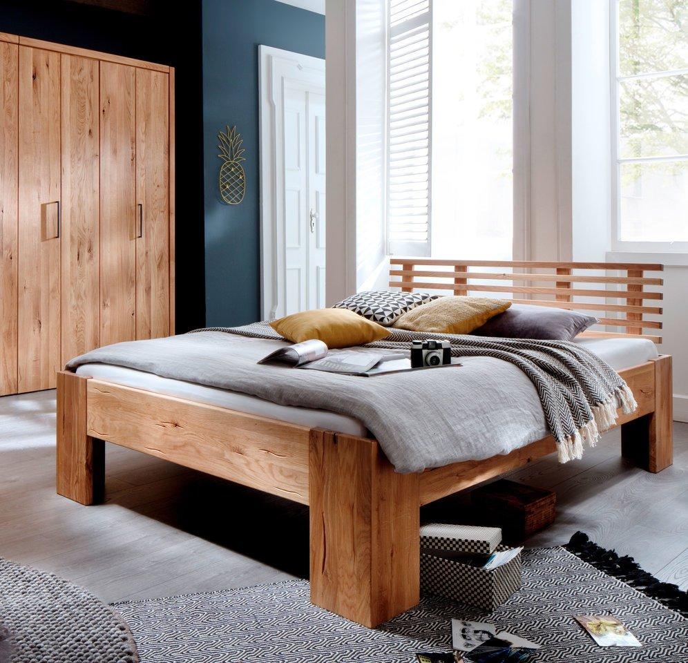 Schlafzimmer Doppelbett Wildeiche Massivholz Rödemis I