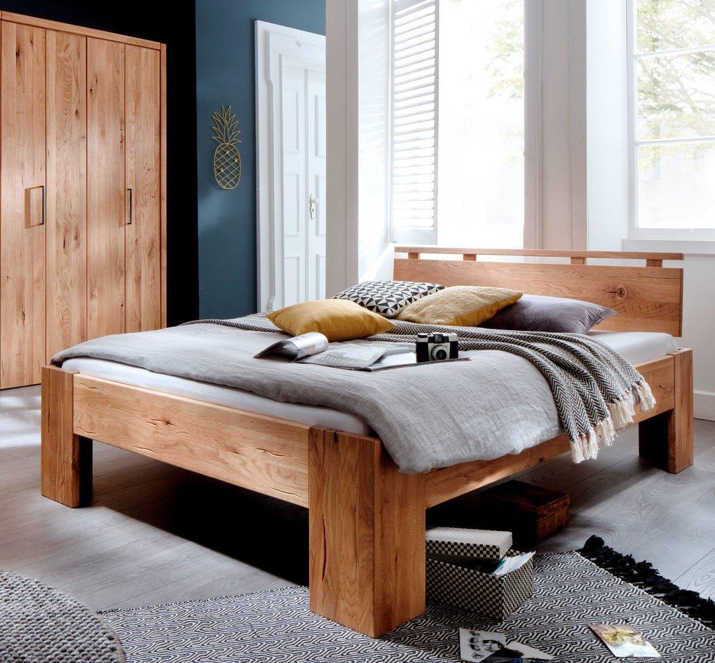 Schlafzimmer Doppelbett Wildeiche Massivholz Rödemis II