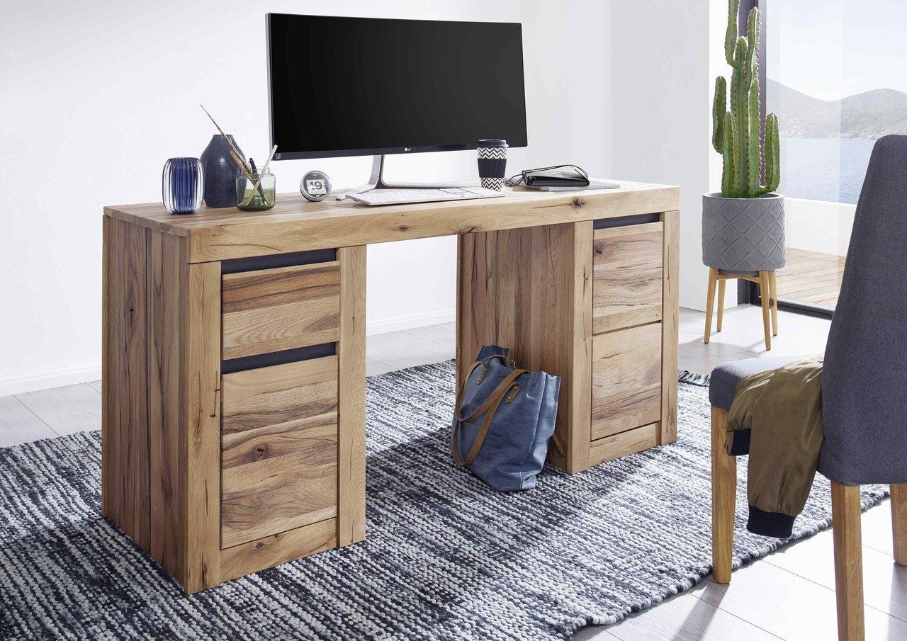 Schreibtisch Kristiansand aus massiver Wildeiche