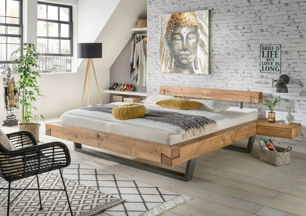 la natura balkenbett mit stahlf en von la natura g nstig bestellen skanm bler. Black Bedroom Furniture Sets. Home Design Ideas