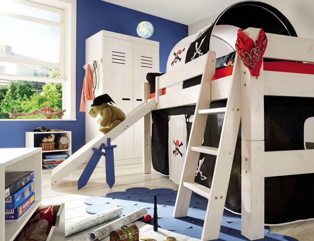 Tobykids Abenteuerbett Hochbett Pirat mit Rutsche für Kinder