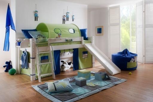 Kinderzimmer Freestyler Hochbett mit Leiter und Rutsche von Moby ...