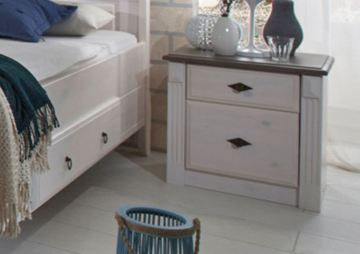 Landhaus Schlafzimmer Eva Massivholz weiß grau von Jumek ...
