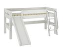 Bett mit Rutsche und Leiter - 110 x 101 x 211 cm, weiß lasiert
