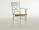 Stuhl mit Holzsitz mit Armlehne B61xH94xT43, weiß gelaugt geölt