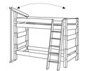 Etagenbett mit Lattenrost und schräger Leiter (am Kopfende montiert), inkl. Feuerwehrstange