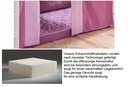 Schaumstoffmatratze, mit Multi Color Bezug lila/pink, 12x90x200 cm