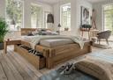 Balkenbett 180x200 cm, mit 1 Schubkasten, Fußblende, Seitenblende